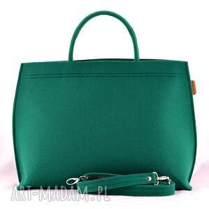 na ramię filc duża torba typu kuferek w kolorze