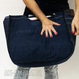na ramię torba jeans duża upcykling 37 lee