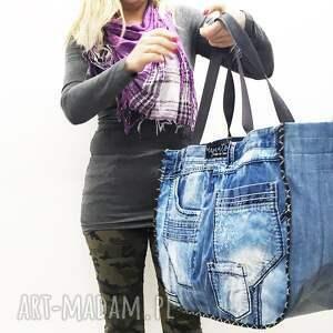 jeans na ramię duża torba upcykling