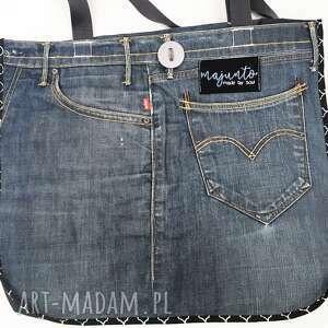 atrakcyjne upcykling jeans duża torba 24 levi