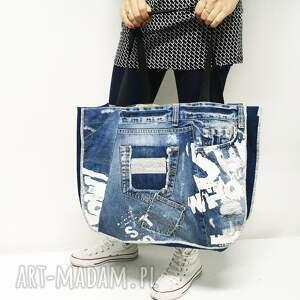 ręcznie wykonane torba jeans duża upcykling