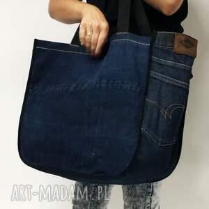 torba jeans na ramię duża upcykling 37 lee