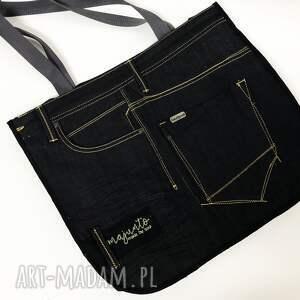 czarne na ramię upcykling duża torba jeans