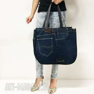 niebieskie na ramię upcykling duża torba jeans 40 lee