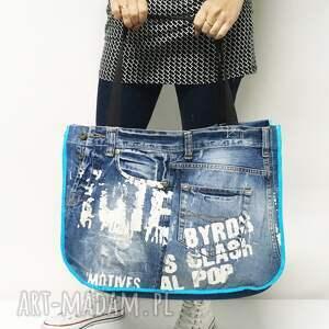 eco torba na ramię turkusowe duża upcykling jeans