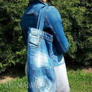 recykling na ramię duża torba z jeansu szachownica