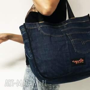 unikatowe na ramię jeans duża torba upcykling 36 lee