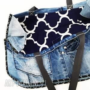 na ramię jeans duża torba upcykling 22