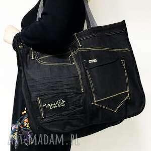 handmade na ramię duża torba upcykling jeans