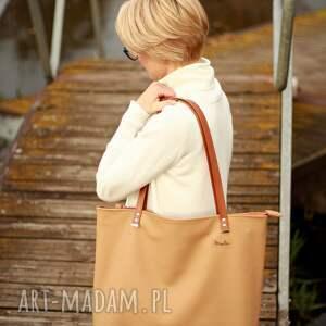 shoperbag na ramię duża torba - beż