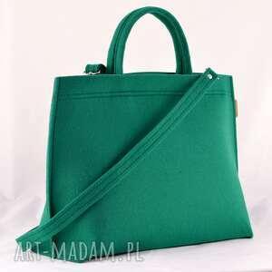 Green Sheep na ramię: Duża torba typu kuferek w kolorze soczystej butelkowej zieleni - piękna