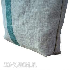 torba z-kieszonka na ramię zielone duża lniana z hasłem