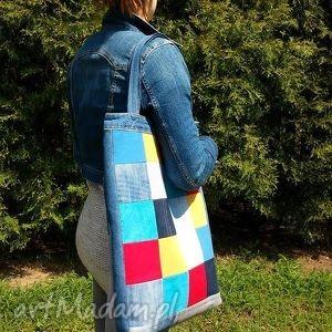 na ramię recykling duża torba z jeansu szachownica