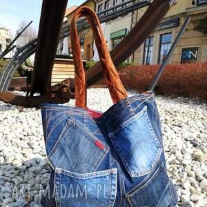 patchwork na ramię duża torba z jeansu plus kolorowy