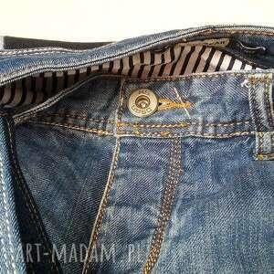 atrakcyjne na ramię recykling duża torba z jeansu szachownica