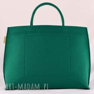 na ramię: Duża torba typu kuferek w kolorze soczystej butelkowej zieleni - piękna torebka