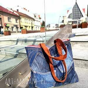 kolorowe na ramię torba duża z jeansu plus kolorowy