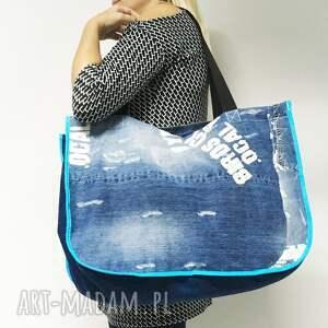 jeansowa torba na ramię duża upcykling jeans