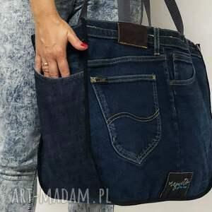 upcycling na ramię duża torba upcykling jeans 40 lee