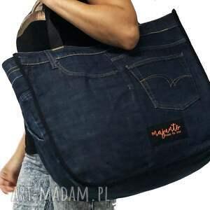 niebieskie na ramię upcykling duża torba jeans 36 lee