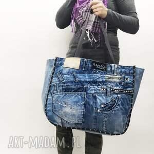 handmade na ramię upcykling duża torba jeans 22