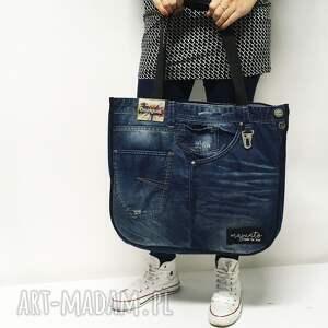 na ramię upcykling duża torba jeans 10