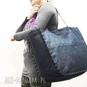 niebieskie na ramię torba duża upcykling jeans 24 levi