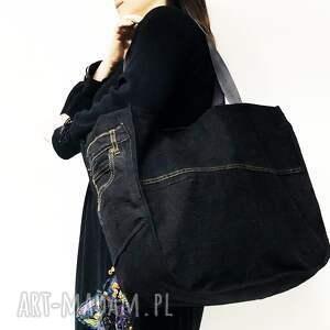 handmade na ramię upcykling duża torba jeans