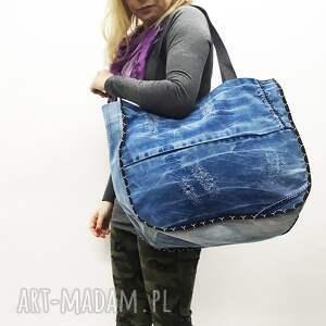 niebieskie na ramię upcykling duża torba jeans