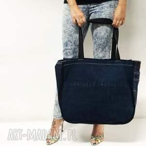 niebieskie na ramię upcykling duża torba jeans 37 lee