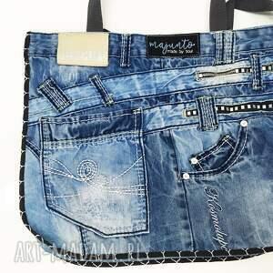 niebieskie na ramię upcykling duża torba jeans 22