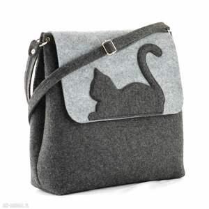 czarne na ramię filc duża torebka filcowa