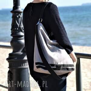 szare na ramię torba duży worek xl szarobeżowa