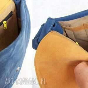 handmade na ramię duża dziwonia zamszowa torba