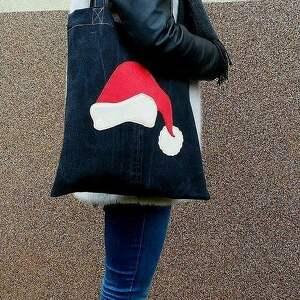 pomysł na upominek świąteczny eko torba eko z czapką św