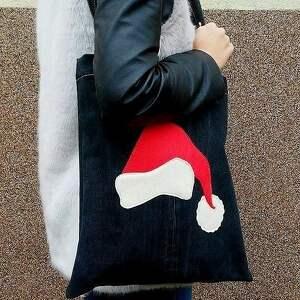 pomysł na upominek świąteczny eko torba z czapką św