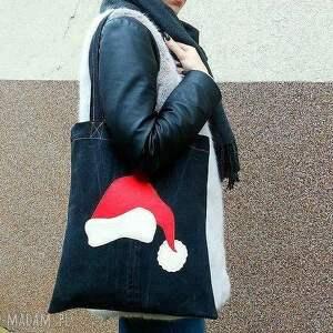 pomysł na upominek świąteczny czerwone eko torba z czapką św