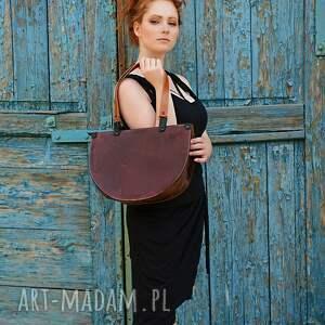 handmade na ramię torba elegancka skórzana asymetryczna