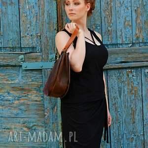 handmade torba elegancka skórzana asymetryczna