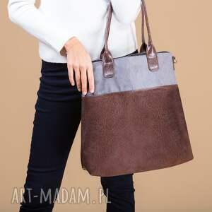hand made na ramię shopper fiella - duża torba szarość