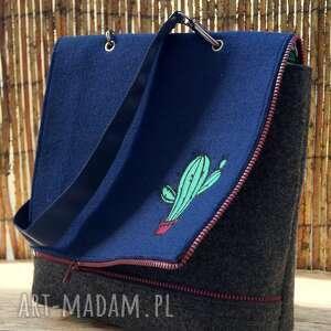 ręczne wykonanie na ramię haft filcowa torba z haftem - kaktusy