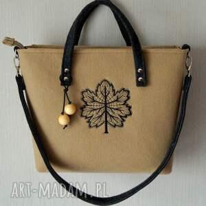 beżowe na ramię torebka filcowa torba z haftem