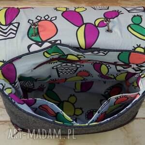 torba na ramię niebieskie filcowa z haftem - kaktusy