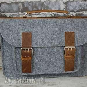 srebrne na ramię skóra filcowa torba na laptopa