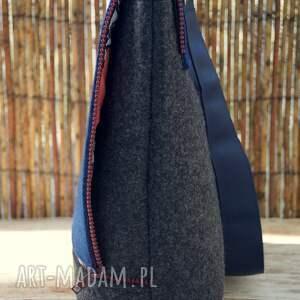 szare na ramię sukulenty filcowa torba z haftem - kaktusy