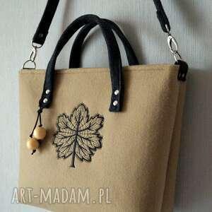 awangardowe na ramię torebka filcowa torba z haftem