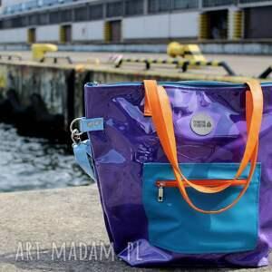 niebieskie na ramię duża torba fioletowa damska