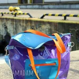 torba damska na ramię pomarańczowe fioletowa