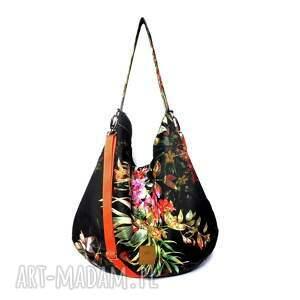 torebkaworek na ramię czarne flowers hobo torba