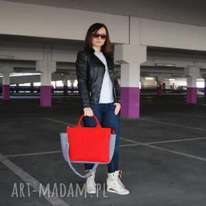 czerwone na ramię filcowa g felt elegancka torba do ręki